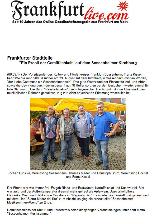 Bericht Frankfurt Live 08.09.14