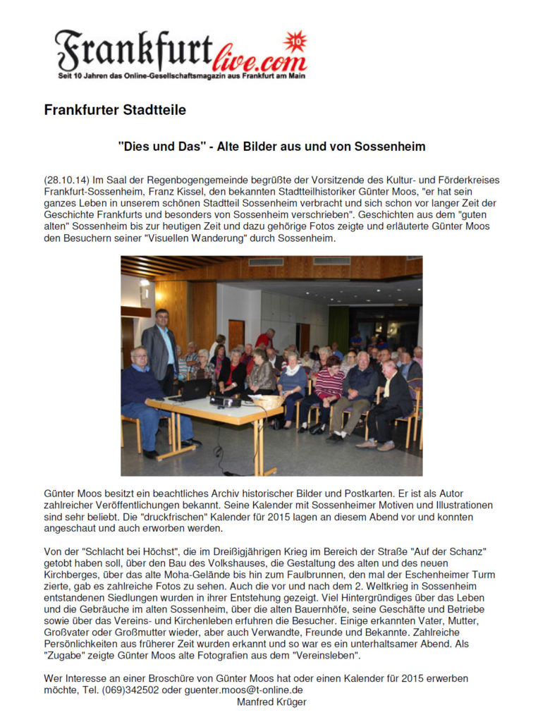 Frankfurt Live Dies und Das 28.10.14