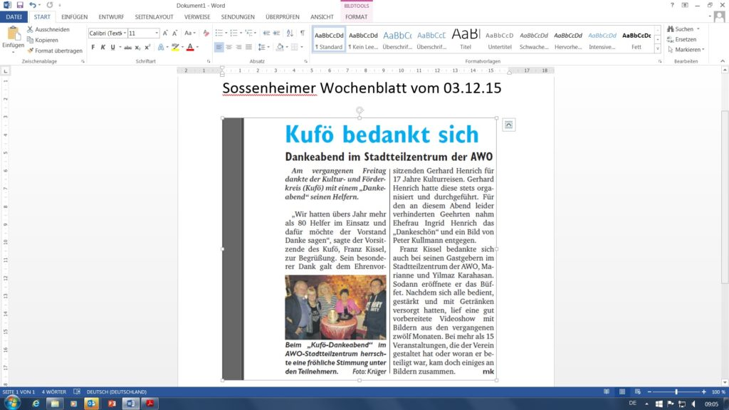 Sossenheimer Wochenblatt Dankeabend 03.12.15