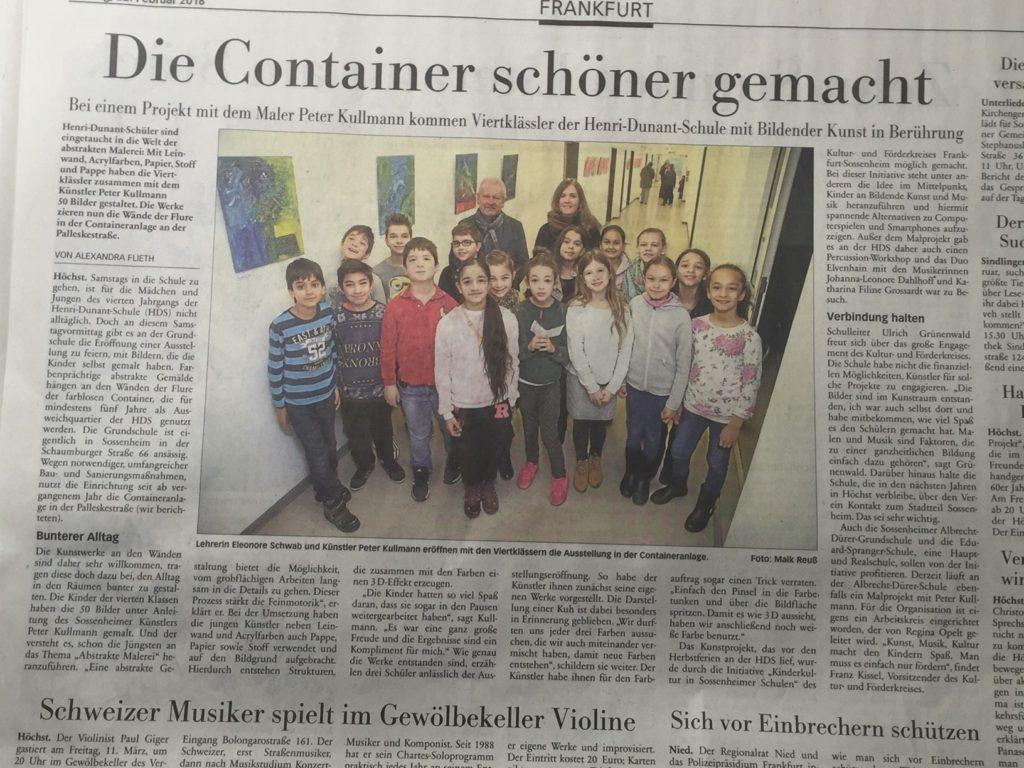 Hochster Kreisblatt 22.02.16 Bilderausstellung Henri Dunant Schule