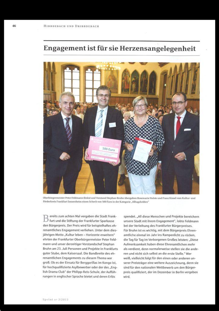Ehrenamt ist Herzensangelegenheit Brgerpreis fr Kuf 01.03.16