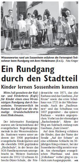 Pressebericht SW Stadtteilrundgang
